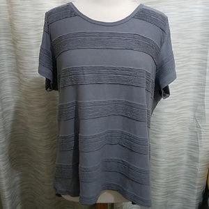 Lularoe classic tee pintuck dark gray striped 3XL